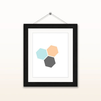 Geometric hexagon - 8x10 digital download, modern, home decor, wall art print, instant download, printable, minimalist, blue orange grey