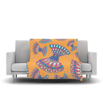 "Miranda Mol ""Tribal Fun Orange"" Abstract Tangerine Fleece Throw Blanket"