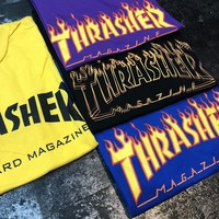 Thrasher Flame Classic Trend Fashion Couple High Quality T-Shirt F-CY-MN