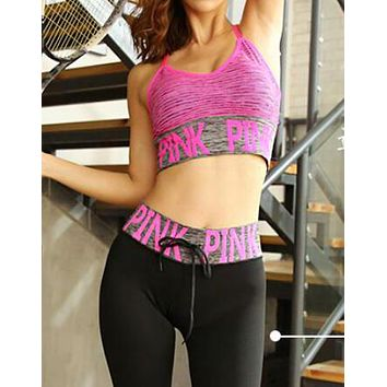 PINK Victoria's Secret Trending Women Stylish Sport Vest Tank Top Shorts Pants Trousers Sweatpants Set Three-Piece Sportswear Rose Red I13708-1
