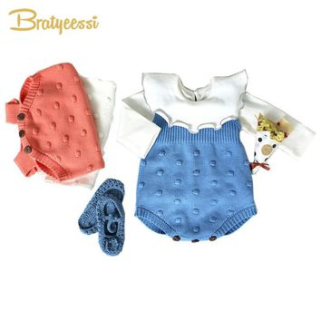 New Baby Girl Romper Autumn Winter Knit Baby Overalls Dot Cotton Toddler Rompers Baby Girl Clothes 1 PC