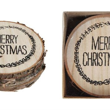 "Wood ""Merry Christmas"" Coaster Set"