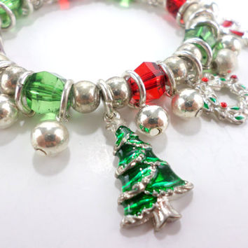 Christmas Charm Bracelet Holiday Bracelet Santa Bell Wreath Charms Vintage Ugly Sweater Jewelry