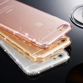 for iphone 6 6S Case Silicone Clear Cases for iphone 5 5S se iphone 7 Plus Transparent Diamond Soft Cover Accesories Rhinestone