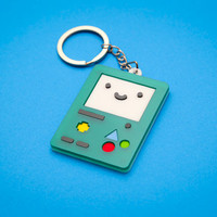 Adventure Time Inspired BMO keychain - Laser cut Acrylic and Eva Rubber Beemo Key chain