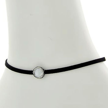 Rhinestone and Pearl Choker Necklace