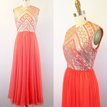 Chiffon gown- Coral dress- Coral gown- Long pink gown- Embroidered gown-Designer gown- Vintage formal dress- 1960s- Small
