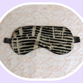 Satin and Flannel Sleep Mask - Soft Gray Black Dark Nap Mask - Light Blocking - Comfortable - Lightweight - Womens