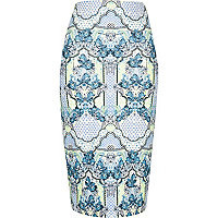 Blue print pencil skirt