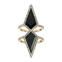 GUESS Double Diamond Shape Vertical Ring