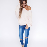 Beige Asymmetrical Neckline Sweater
