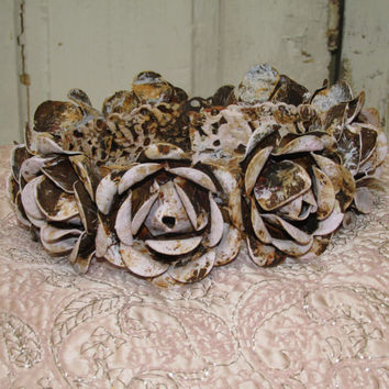 Large metal crown romantic rose covered halo handmade for statues pink rusty French inspired ooak by anita spero