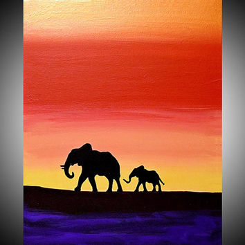 elephant animal original painting mother baby african gifts art landscape paintings on canvas wall nursery decor decal 5 sizes