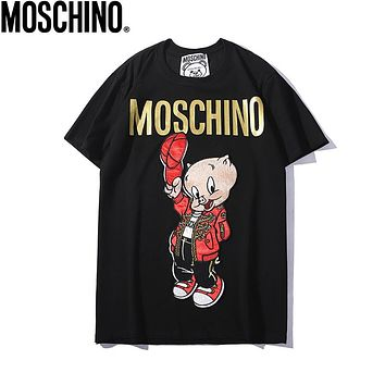 MOSCHINO Summer Newest Women Men Cute Pig Embroidery Round Collar T-Shirt Top Black