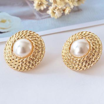 Pearl Bead Accented Golden Basketweave Clip-On Earrings