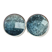Faceted Dark Blue Glitter Post Earrings