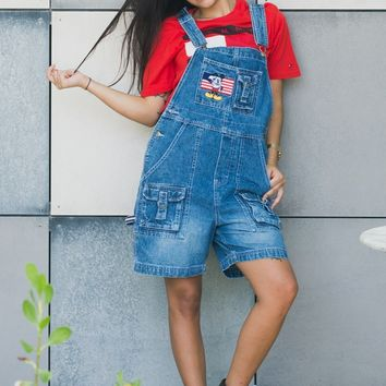 New Vintage Disney Logo Overalls Dungarees S