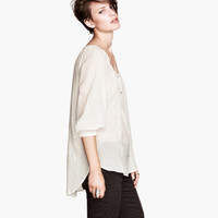 Sheer Cotton Blouse - from H&M