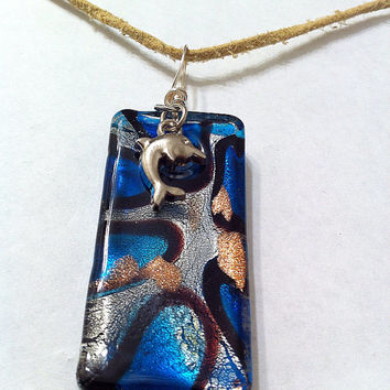 Blue swirl rectangle dichroic glass pendant with dolphin charm on tan leather cord, fused glass necklace dolphin necklace gift ideas