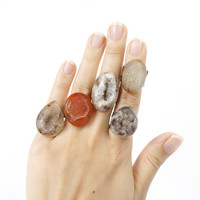 Natural Druzy Stone Rings, Untreated Brown Crystal Drusy Ring, Earth Color Geode Stone Rings from Indonesia