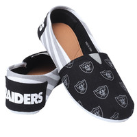Oakland Raiders Forever Collectibles Women's  Canvas Slip On Shoes w/ Priority Shipping