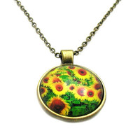 Sunflower Necklace, Sunflower Pendant, Sunflower Charm, Cabochon Necklace, Cabochon Sunflower, Sunflower Jewelry, Flower Necklace, Floral