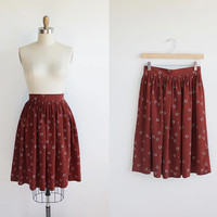Vintage 70s Full Silky Printed Cloud Skirt |