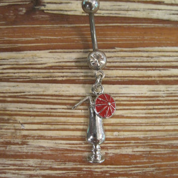 Belly Button Ring - Body Jewelry - Red Umbrella Drink w/ Clear Gem