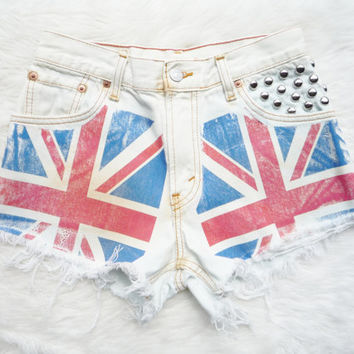 Vintage Union Jack High Waisted Levi's Studded Cut Off Denim Shorts