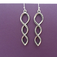 Sterling and Pewter Infinity Earrings