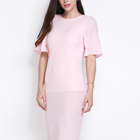 Pink Ruffle Sleeve Open Back Bodycon Dress