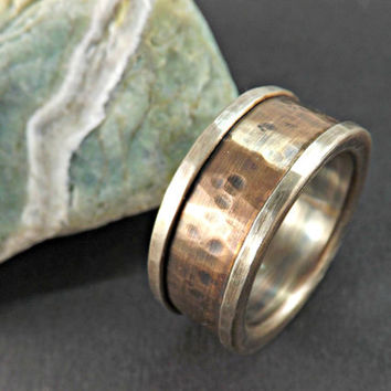 rugged silver bronze ring rustic wedding ring rustic engagement ring anniversary gift mens wedding ring