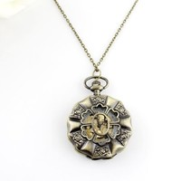 New Coming Alloy Rose Shape Large Size Alloy Antique Ladies Pocket Watches with Free Jewelry Pouch