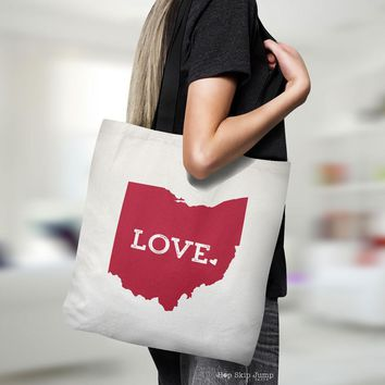 Ohio State Love Canvas Tote Bag | HopSkipJumpPaper