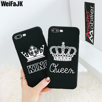 WeifaJK Luxury King Queen Case For iPhone 7 7 Plus 6 6s Plus Cover Soft Silicone Back Case For iPhone X 8 8 Plus 7 6 6s 5s Coque