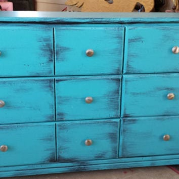 SOLD SOLDWood hand-painted dresser, distressed, 6 drawer, turquoise and black, bedroom furniture, pick up only