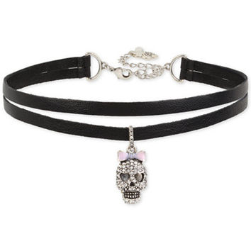 Betsey Johnson Silver-Tone Pavé Skull Charm Imitation Leather Double Row Choker Necklace - Jewelry & Watches - Macy's