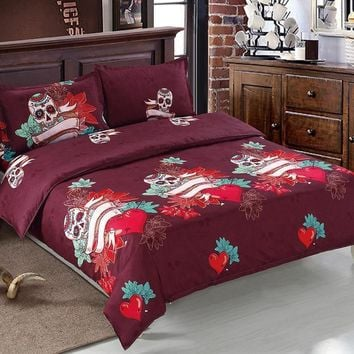 Halloween Skulls Bed Linens Reactive Printing Flat Sheet Set 4Pcs Bedding Set Twin Queen King Size