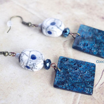 Square Dark Blue Earrings, Slate Blue Earrings, Navy Blue Earrings, Midnight Blue Jewelry