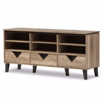 Wales Modern and Contemporary Light Brown Wood 55-Inch TV Stand By Baxton Studio