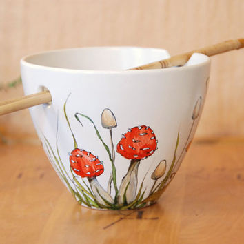 Hand Painted Noodle Bowl - Shrooms and Grass Collection - made to order
