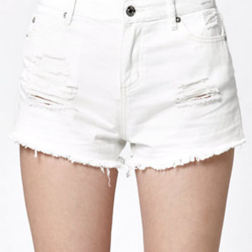OBEY Saloon Ripped High Rise Cutoff Denim Shorts at PacSun.com