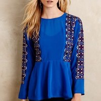 KAS New York Santa Ana Blouse in Blue Size: