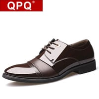 QPQ Men's Flats Patent Leather Business Classic Pointed Dress Shoes