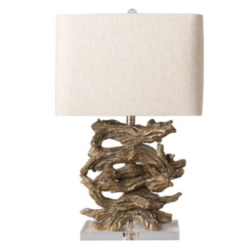 Surya Ballard Acrylic Finial Beige Linen Shade Table Lamp