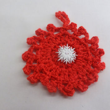 Christmas Ornament Crocheted in Red with Snowflake adornment Set of Two