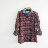 vintage long sleeve top. button front henley. tribal print shirt with denim collar
