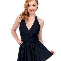 Esther Williams Vintage 1950s Style Pin-Up Black Marilyn Swimdress