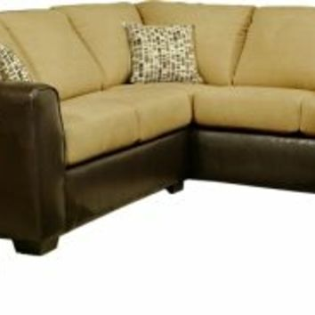 2 pc Lauren two tone honey fabric and leather like vinyl upholstery sectional sofa set