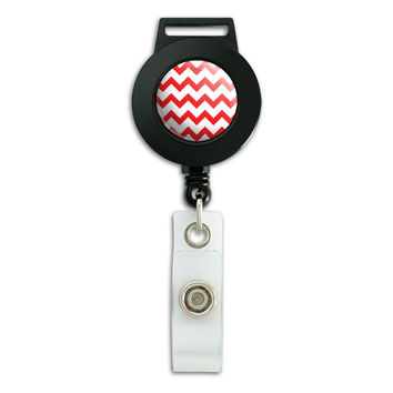Chevrons Red Retractable Badge Card ID Holder